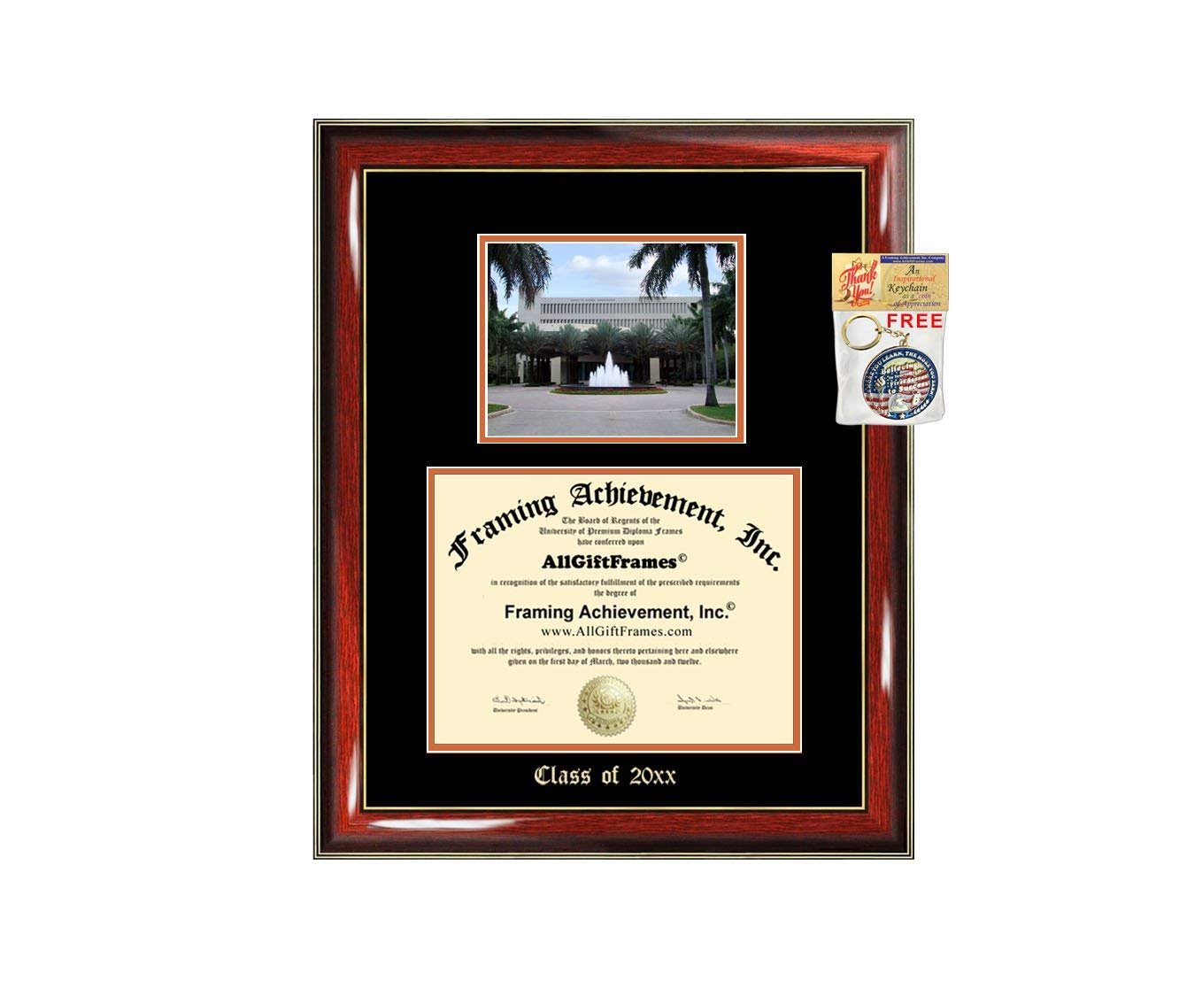 Diploma Frame Big University of Miami Graduation Gift Case Embossed Picture Frames Engraving Degree Graduate Bachelor Masters MBA PHD Doctorate School