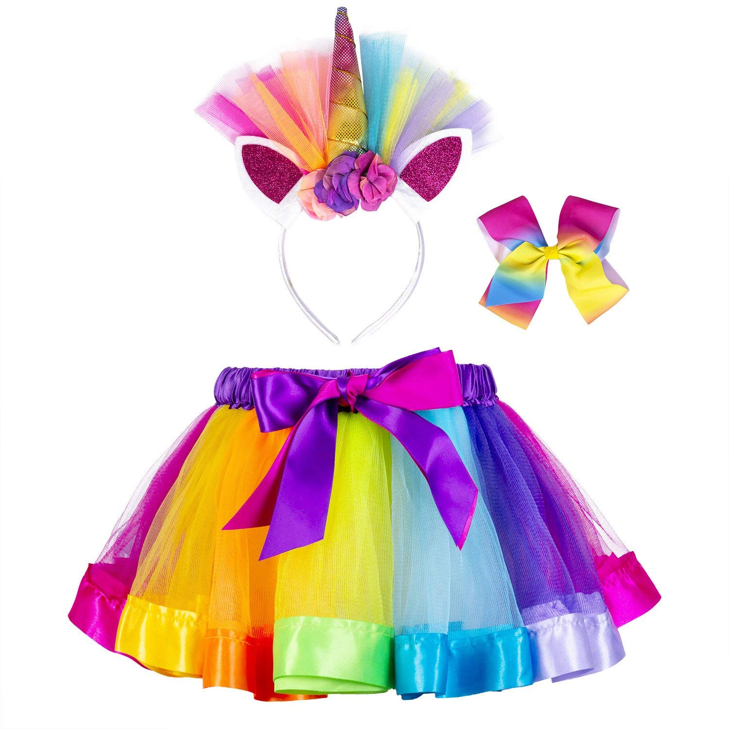 17a20969ce Get Quotations · Little Girls Layered Unicorn Rainbow Tutu Skirt Dress up  with Headband Hair Bows
