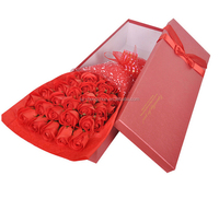 Custom red flower wedding favor box , lace bowknot decorated candy box for gift