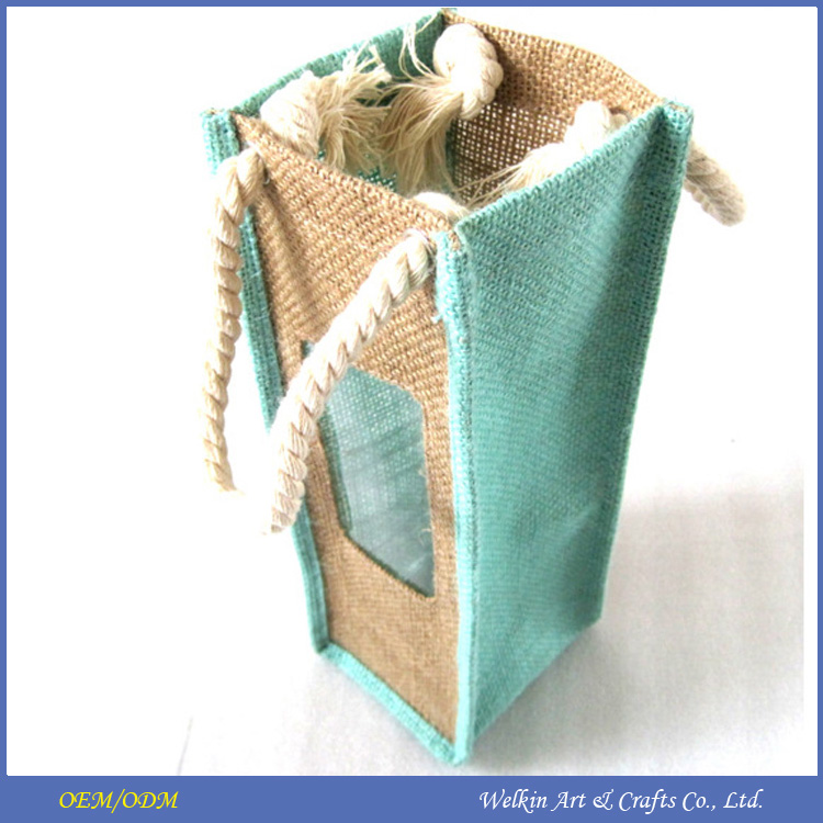Promotional gifts cheap jute wine bag with window