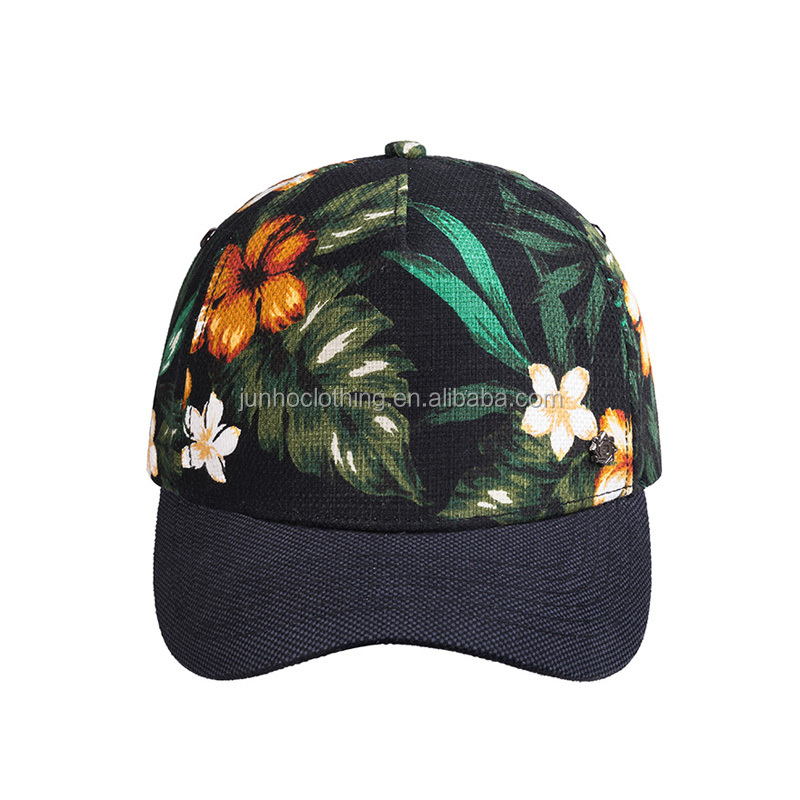 Custom metal plate hawaii floral printing peaked snapback cap hat multi color guangzhou baseball hat and cap