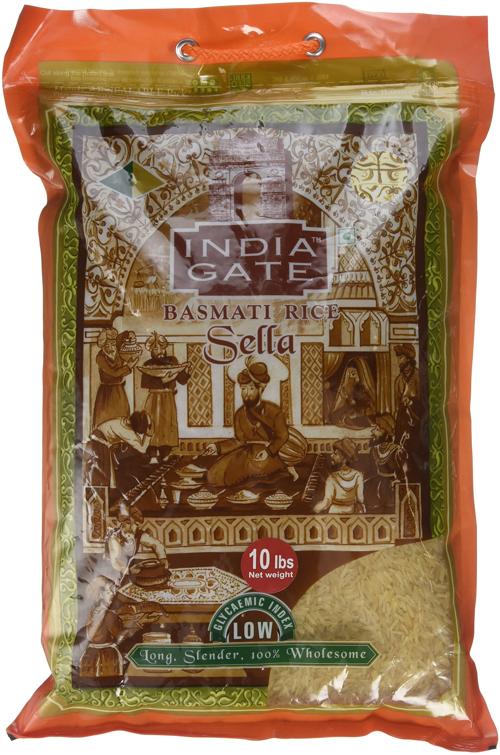 India Gate Parboiled Basmati Rice Bag, Golden Sella, 10 pounds