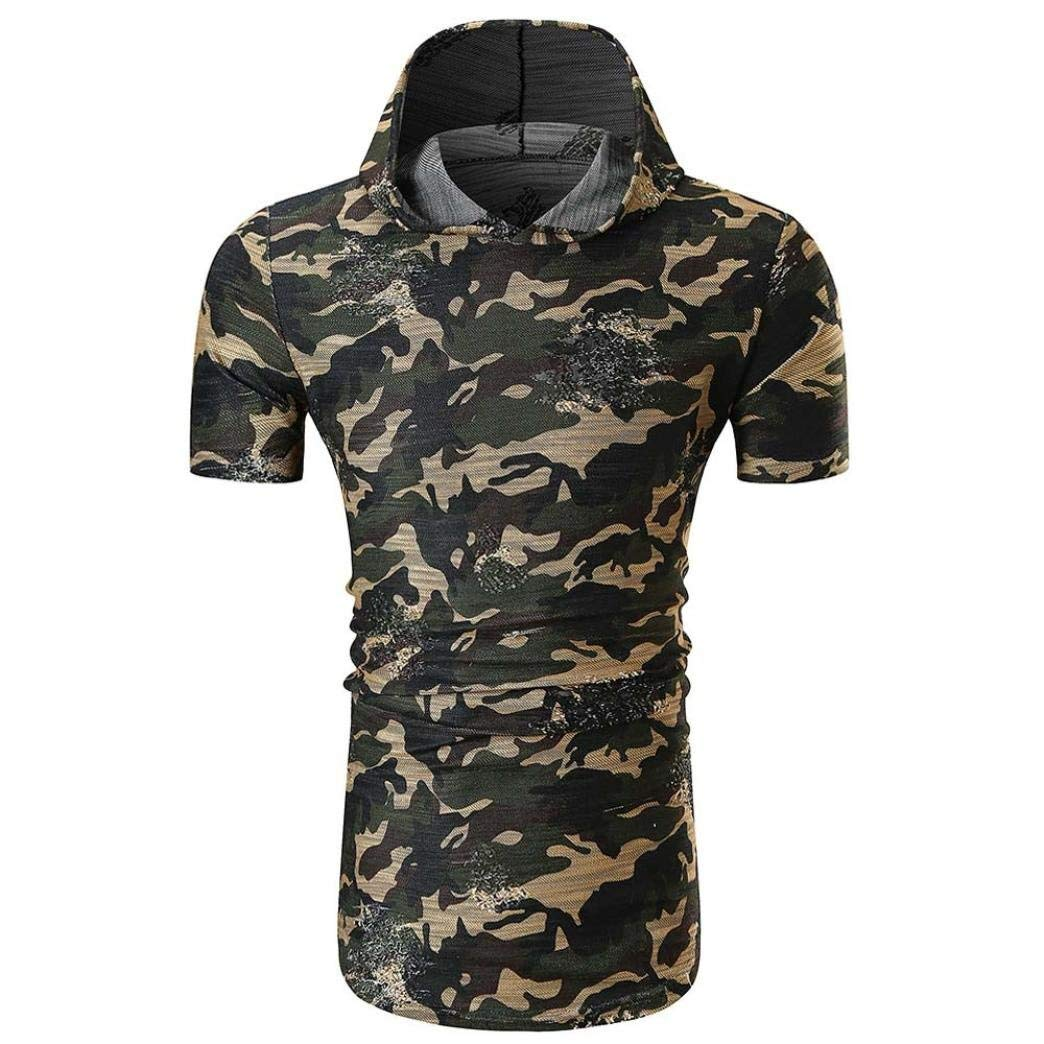 Coper Men Camouflage Print Short Sleeve T-shirt O Neck Pullover Top Blouse