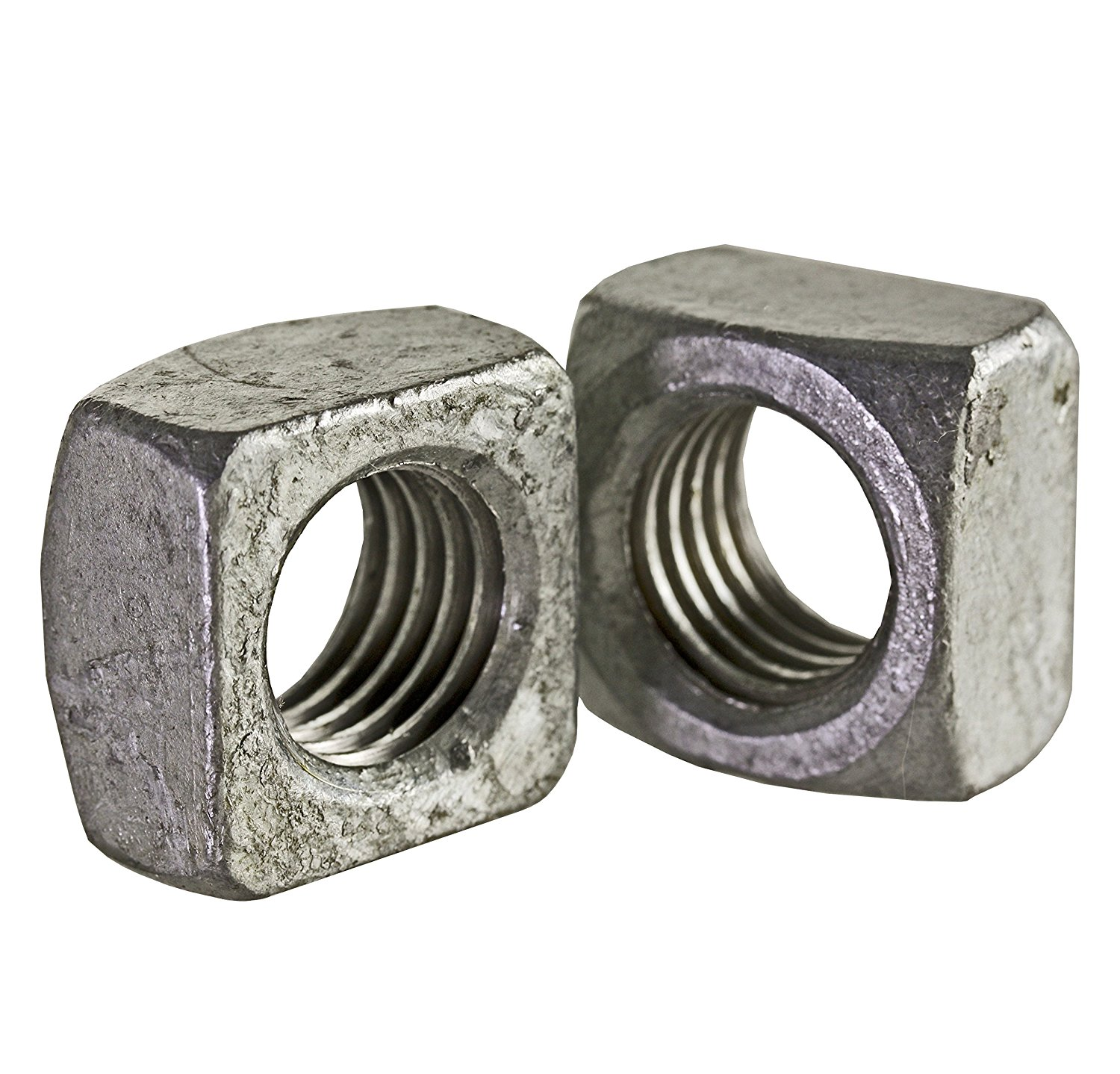 """Steel Square Nut, Hot-Dipped Galvanized Finish, Grade 2, Meets ASME B18.2.2, 7/8""""-9 Thread Size, 1-5/16"""" Width Across Flats, 49/64"""" Thick (Pack of 5)"""