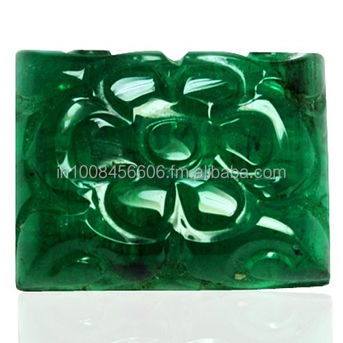 10.17 cts Natural Top Green Emerald Gemstone Hand Made Carving Zambia Unheated