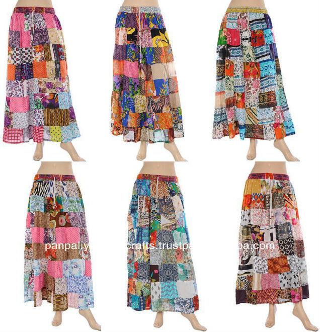 63ccde123 Indio las mujeres Patchwork largo falda gitana Hippie faldas de algodón con  parche trabajo-Diseñador falda India