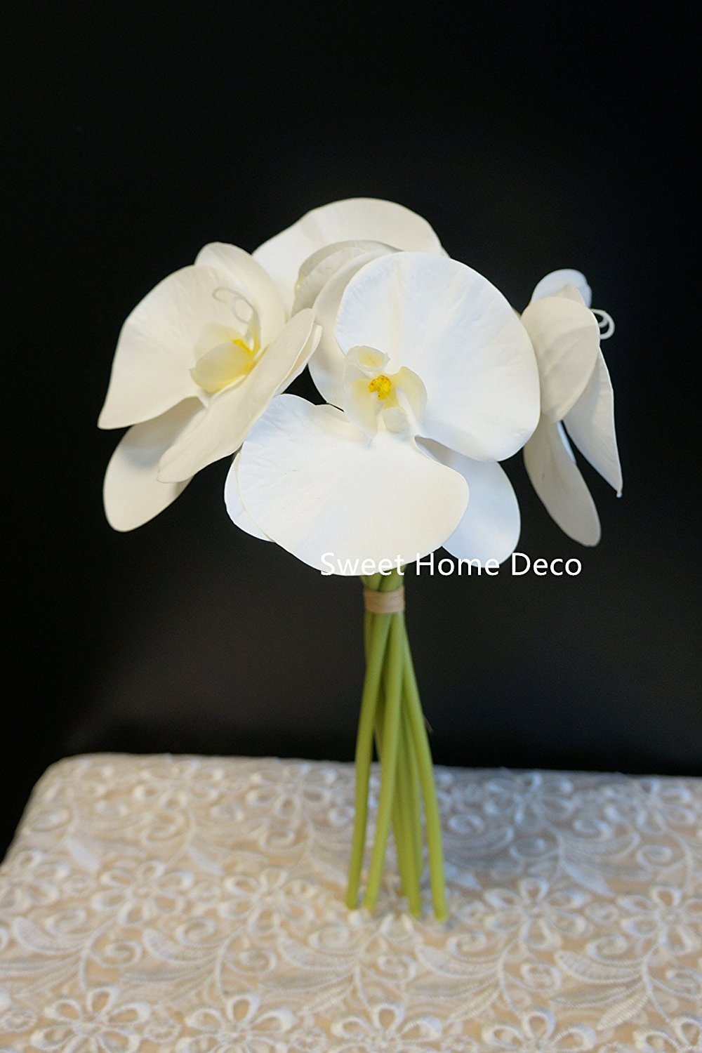 Buy sweet home deco premium real touch phanaenopsis orchid flower sweet home deco premium real touch phanaenopsis orchid flower bouquet 6 big flower heads izmirmasajfo