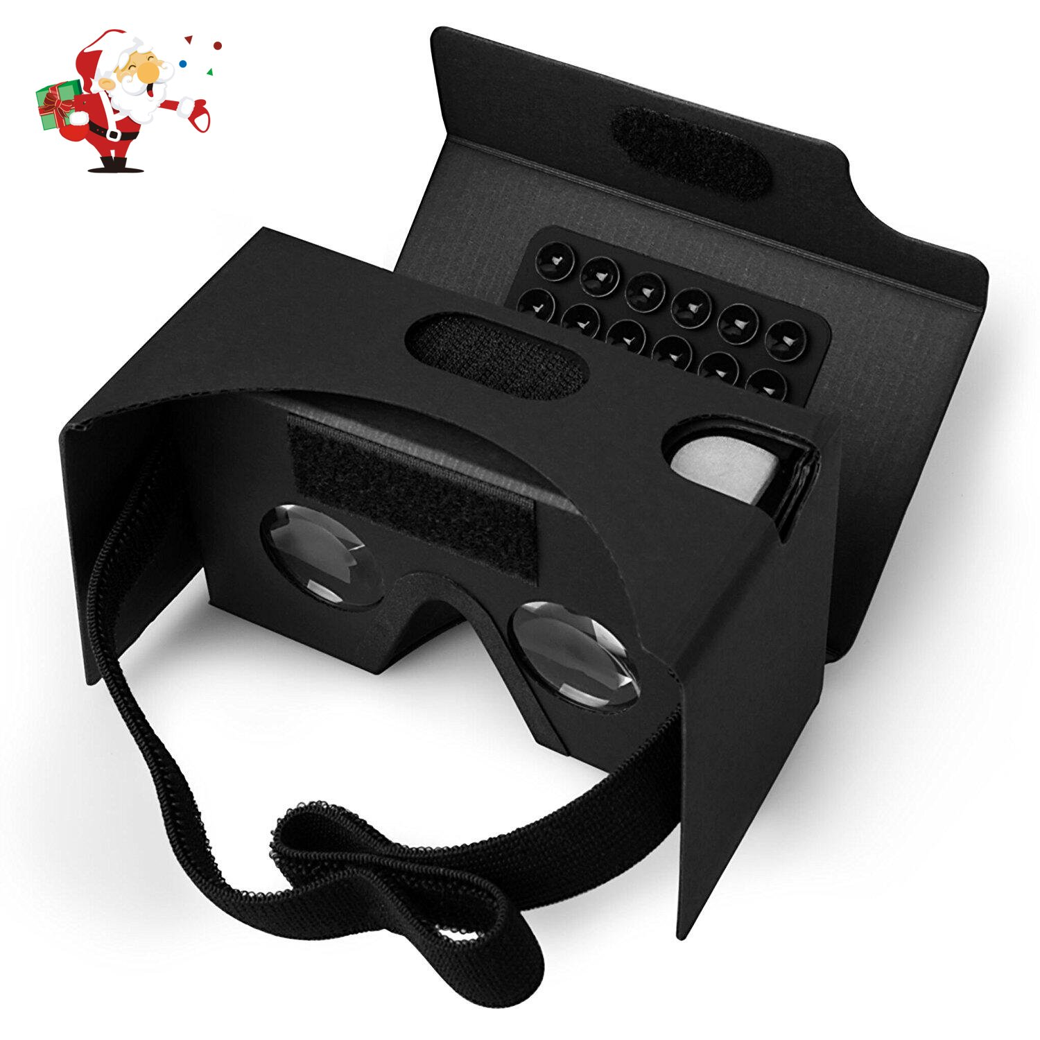 Google Cardboard, Splaks 3D VR Virtual Reality Glasses V2 with Sucker Head Strap Forehead Pad Nose Pad and Big Lens for Android and Apple Device Up to 6 Inch Easy Setup DIY Kit