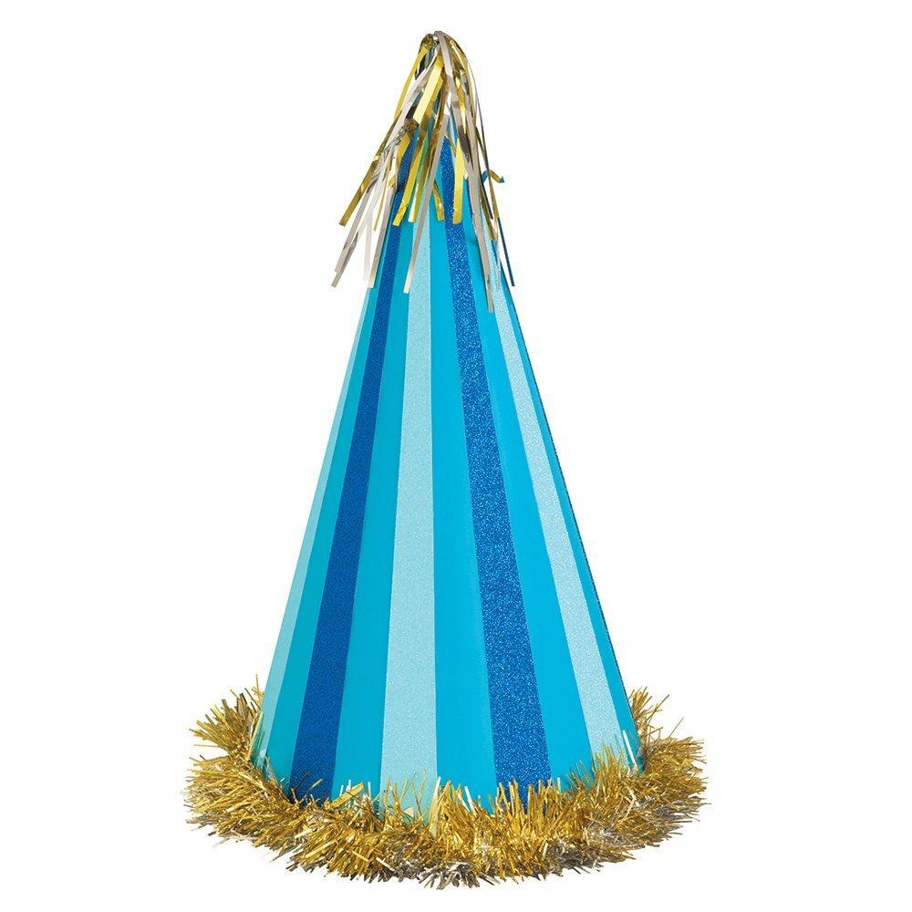 "13"" Jumbo Glitter Blue Striped Party Hat"
