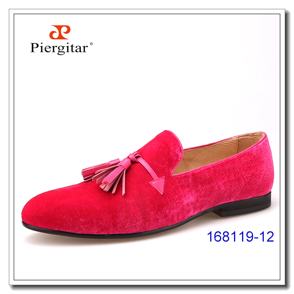 Classic Tassel Velvet Men Pink with Slippers Shoes AWp7AFqcrO