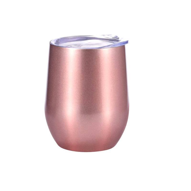 12oz stainless steel rose gold wine cup, Wholesale Double Wall Insulated Vacuum Wine Tumbler With Lid фото