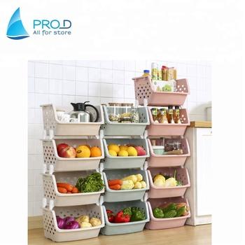 Whole Stackable Fruit And Vegetable Storage Rack Plastic Kitchen Shelf