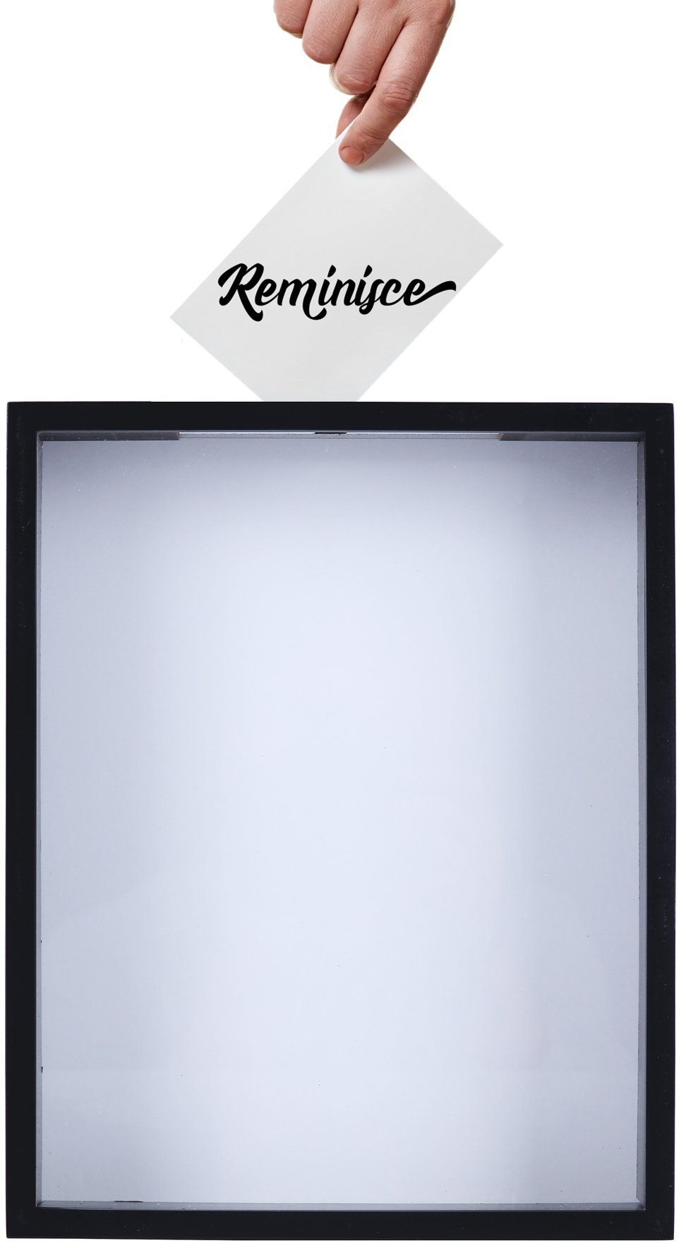 Shadow Box Display Case – Top Loading Black Wood Frame - Showcase Bottle Caps, Shells, Ticket Stubs, Airline Tickets, and More (Silver)