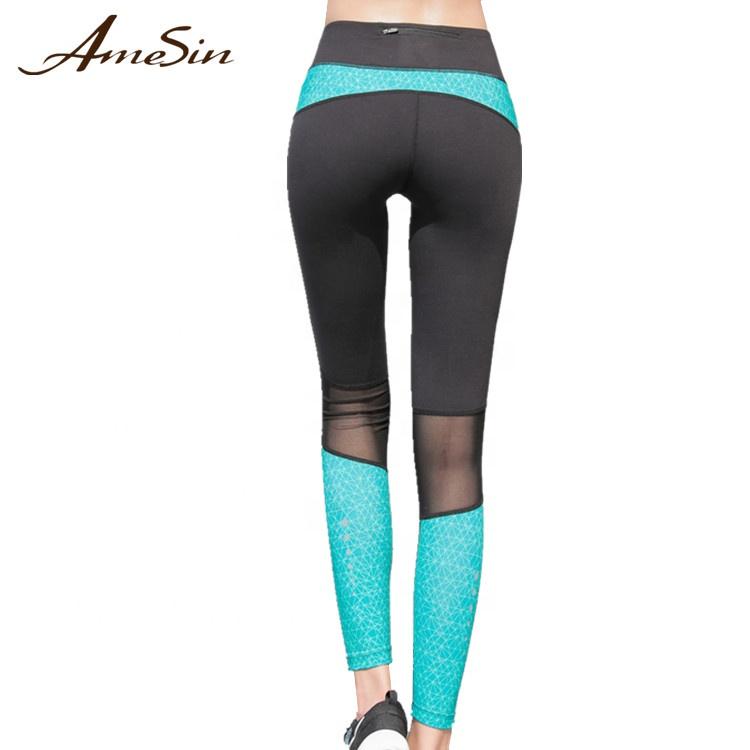 AMESIN Waist Zipper Pocket High Waist Out Pocket Yoga Pants Tummy Control фото