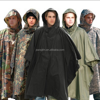 OEM military green camouflague nylon oxoford PU PVC raincoats poncho polyester durable lighter rain cape