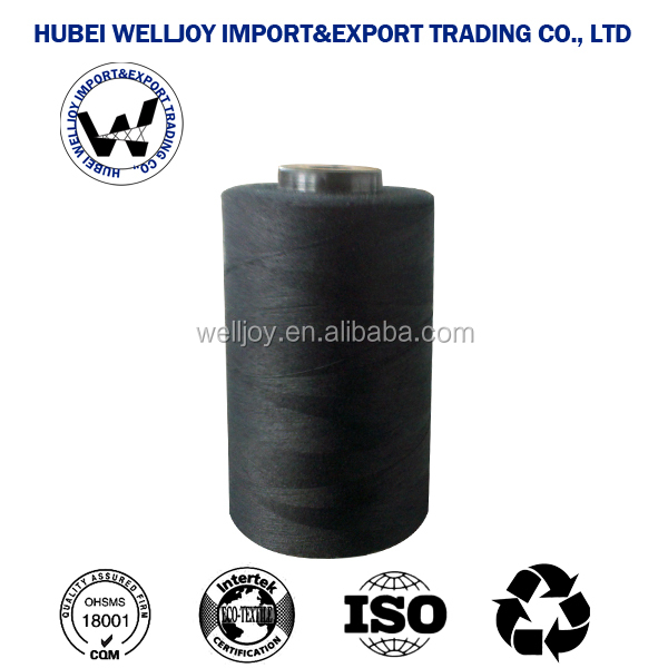 WellJoy 100% spun polyester thred for high speed sewing use black color