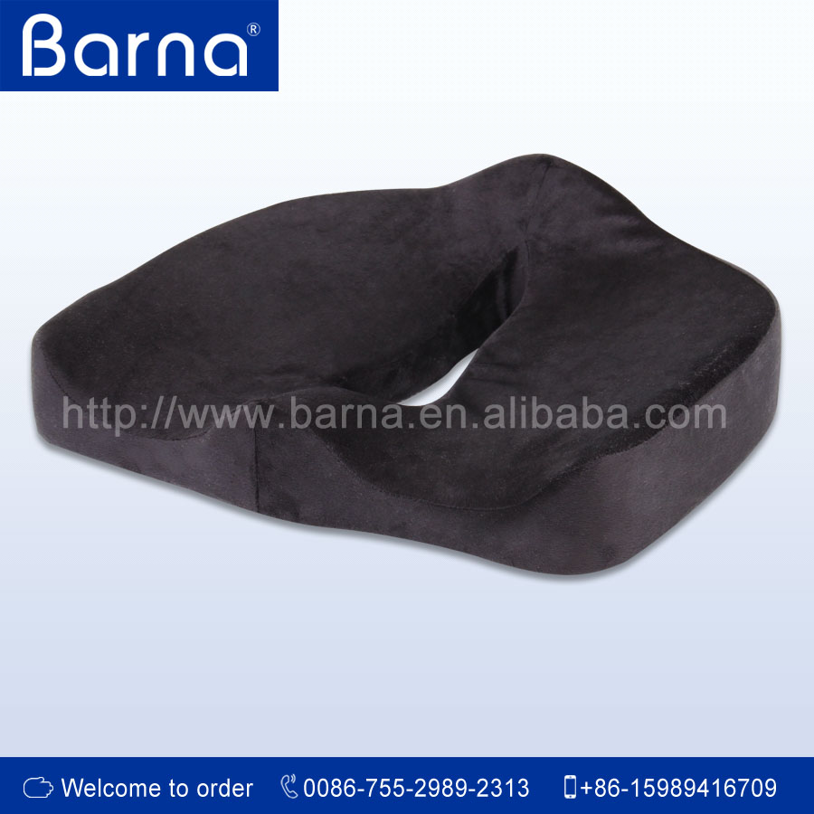 Car seat cushion with anti-slip velboa fabric cover for car driver relieve pain and stress at the buttocks