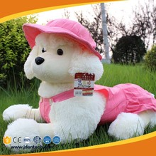 papa poodle cotton big eyes lovely large stuffed dog plush toys with pink hat