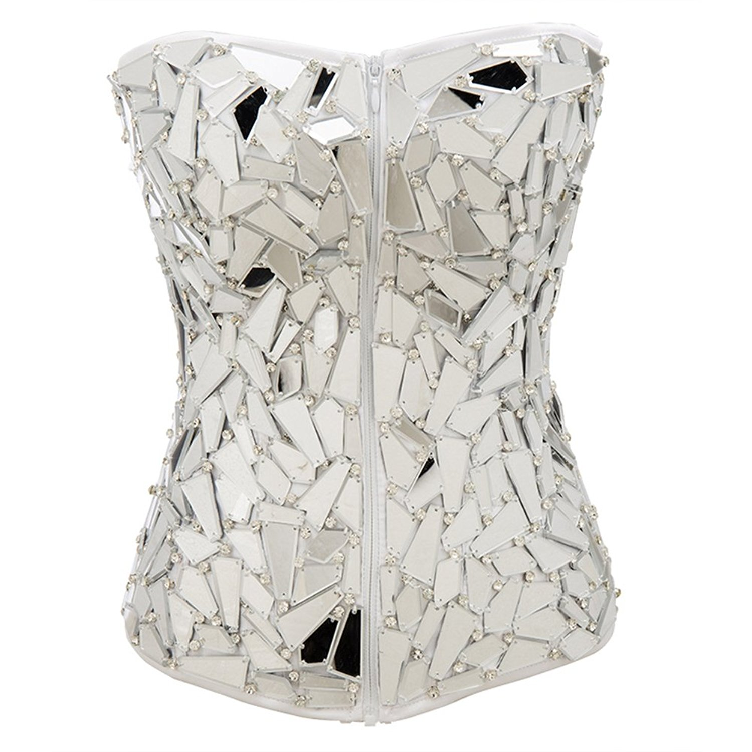 f10fad9ee78 Get Quotations · Alex sweet Womens Sexy Faux Leather Zipper Front Bustier  Corset Top-Waist Training Corset