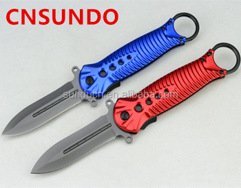 440 Stainless Steel Blade Metal Handle Titanium Finish Pocket Knife Butterfly Knife Folding Blade Knife