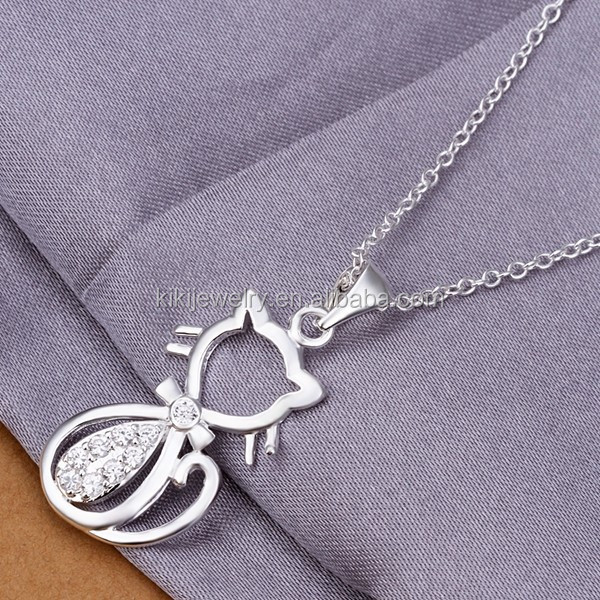 Lovely Eco-friendly Sterling Silver Plating Cat Shape Pendant Necklace Jewelry