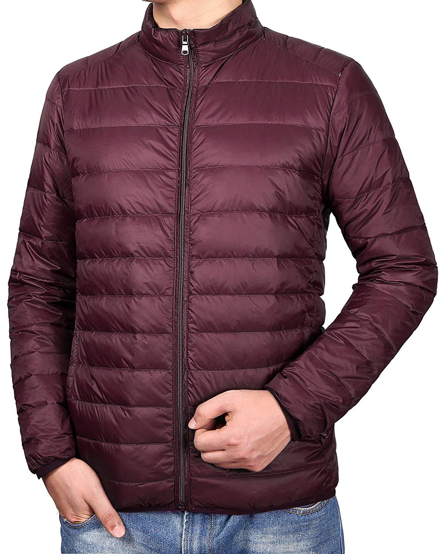Qiangjinjiu Men Lightweight Packable Down Jacket Winter Warm Stand Collar Zipper Coat Outwear
