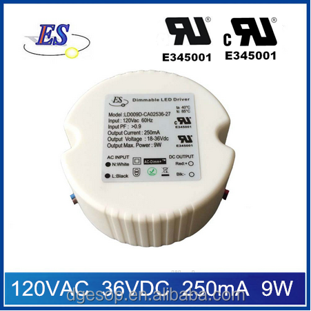 9W AC-DC Constant Current Dimmable LED Driver Power Supply with Triac dimmer ,UL CUL IP65