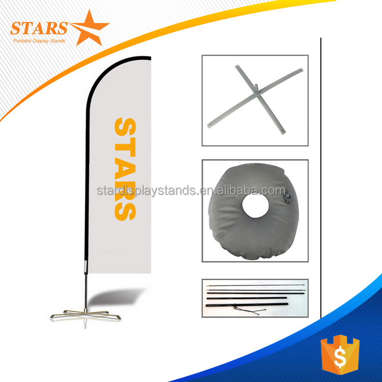 Good Quality Outdoor Feather Flag Pole , Shark Fin Flag Banner with Fiberglass Poles