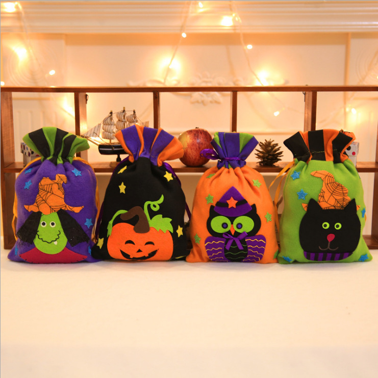 Halloween Pumpkin Gift Bag Colorful Candy Trick or Treat Halloween Candy Bag For Promotion