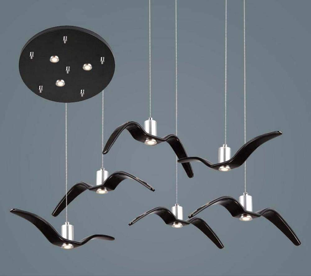Onfly Seagull LED Chandelier 6 Head Wind Bell Shape Pendant Lamp Modern Minimalist Bird Hanging Lamp Restaurant/bar/bedroom Deco Indoor Lights (Color : Black, Size : Round 40cm)
