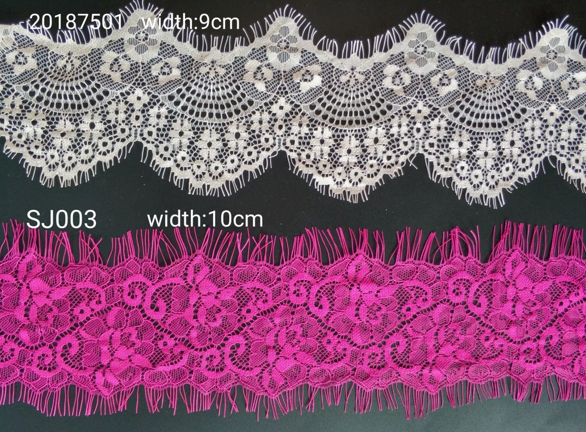 55mm Wide Eco-Friendly 100% Nylon Lace Spandex Fabric For Garment And Mosquito Net