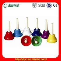 Colorful 8 tone Hand Held Bells , Antique Brass Hand Bells