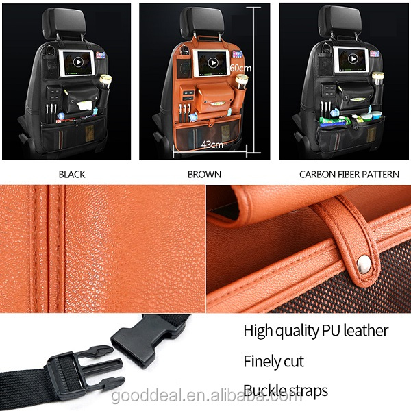 2020  New Leather Auto Car Back Seat Organizer With 4 USB Charging