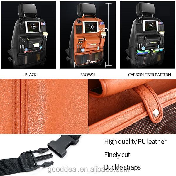 2018 Yeni Deri Oto otomobil arka koltuğu düzenleyici Ile 4 USB Şarj