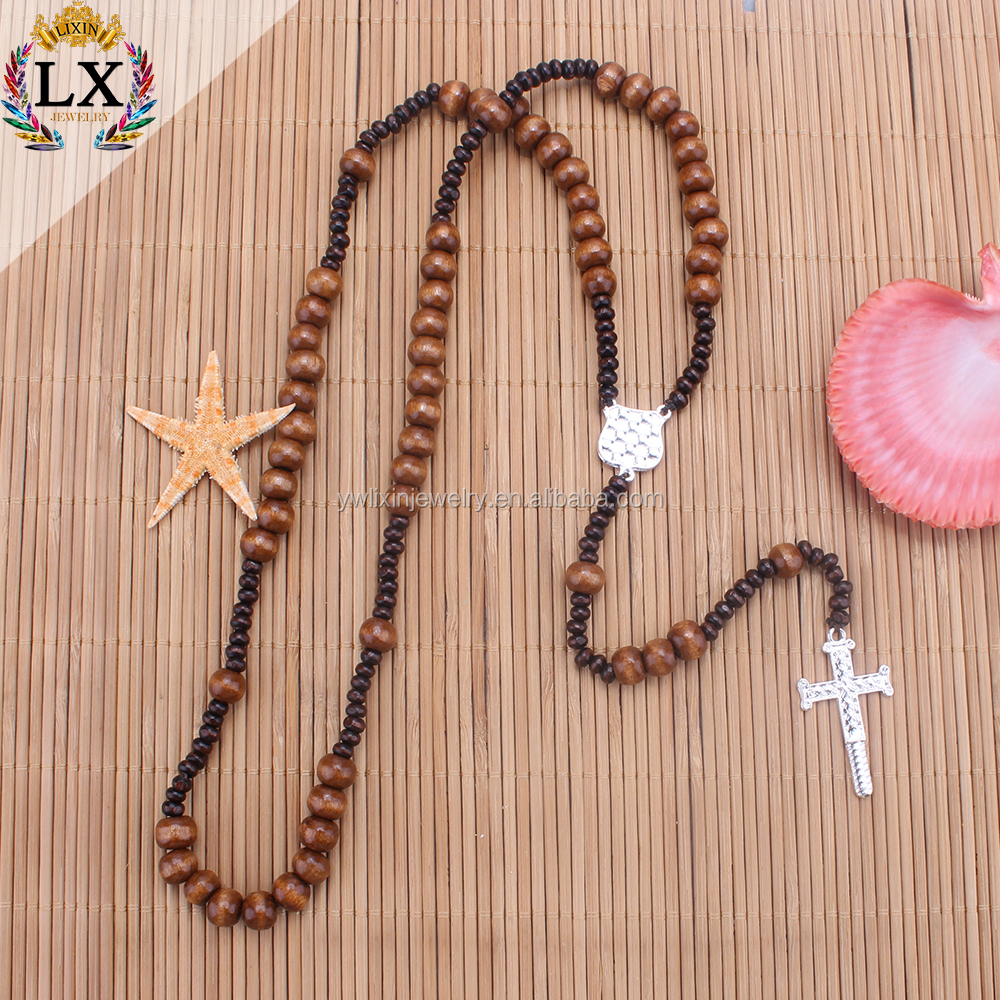 PLX-00301 Traditional christianity crest natural brown wood cross pendant rosary bead cross necklace