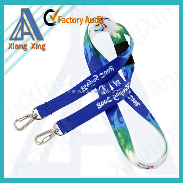 Cheapest custom double hook lanyard no minimum order follow your design