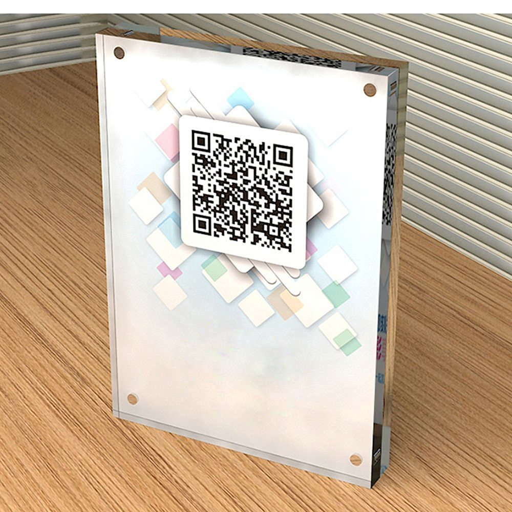 Clear Double Sided Acrylic Magnetic Photo Frames Free Standing