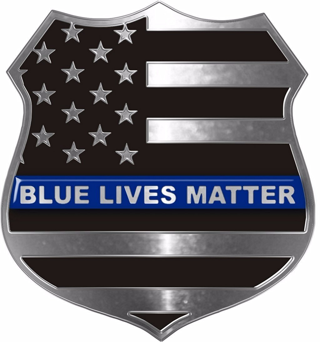 Blue Lives Matter Thin Blue Line Metallic Shield Decal-4 in