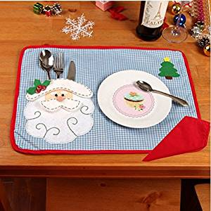2pcs/set Christmas Placemats with Napkin Santa Claus Plaid Placemats Eat Mat Dinner Table Decoration for Home Kitchen Table Pads
