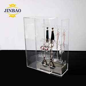 JINBAO wholesale printed custom Clear Rotating Acrylic Organizer Plexiglass Holder Organizer Display with Best Packaging