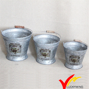 Set of 3 Water Bucket Flower Arrange Vintage Galvanized Antique Buckets