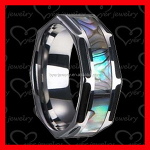 Tungsten Wedding Band with Mother of Pearl Inlay 8mm Tungsten Carbide Ring