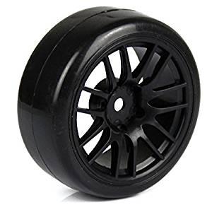 Generic 1:10 RC Drift Car 14 Spoke Plastic Wheel Rims and Rubber Tires Black Pack of 4, Model: , Toys & Play