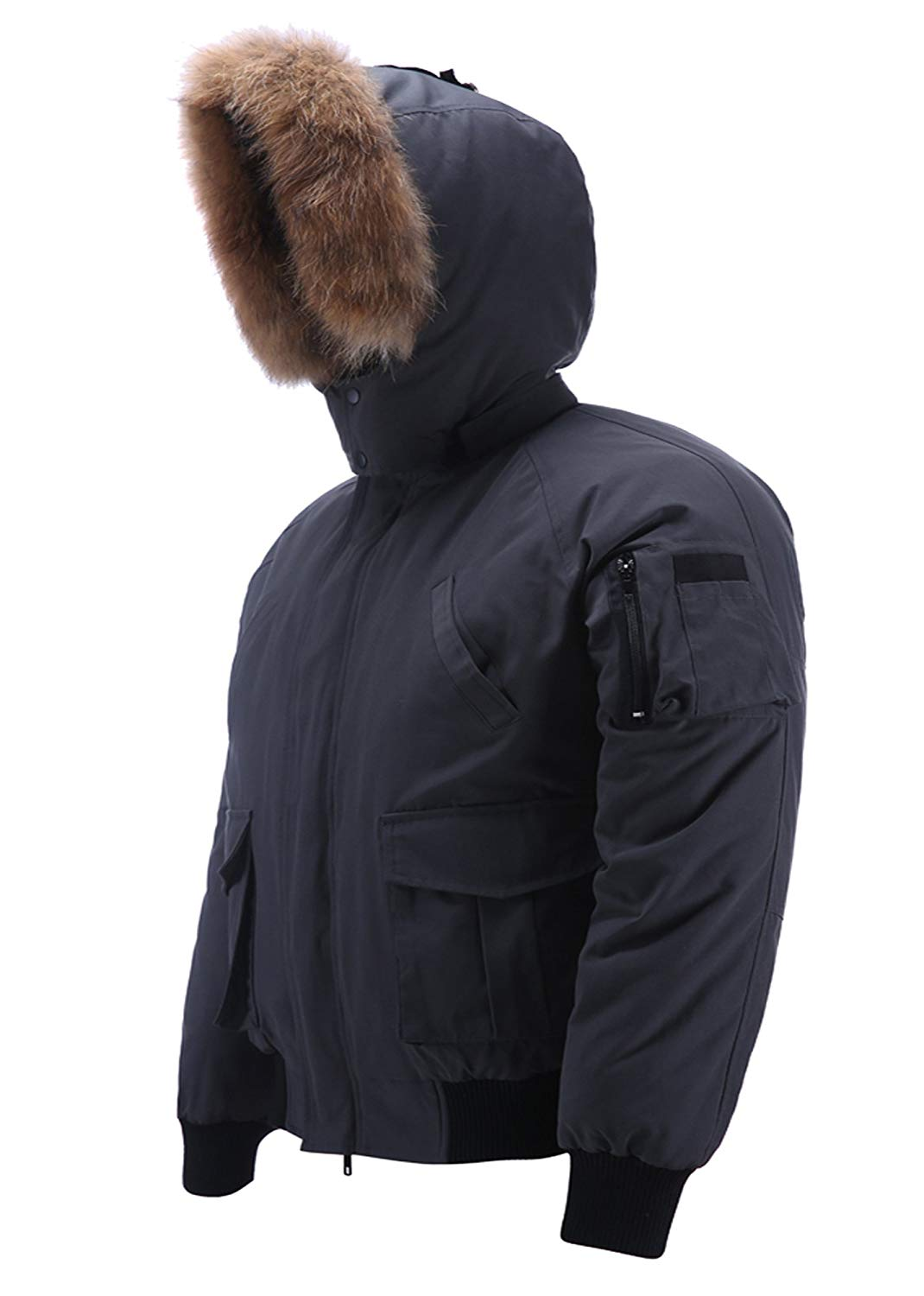 xtsrkbg Mens Winter Faux Fur Hooded Thicken Quilted Padded Down Jacket