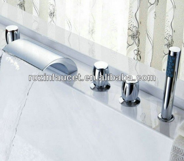 Luxury Chrome 5pcs bathtub mixer faucet w/Sprayer Hand Shower & 3 Handles tub Mixer Tap <strong>1185</strong>
