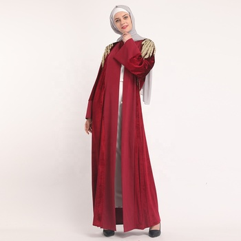 2019 wholesale high quality thick velvet with gold lace and pearl kimono abaya islamic clothing
