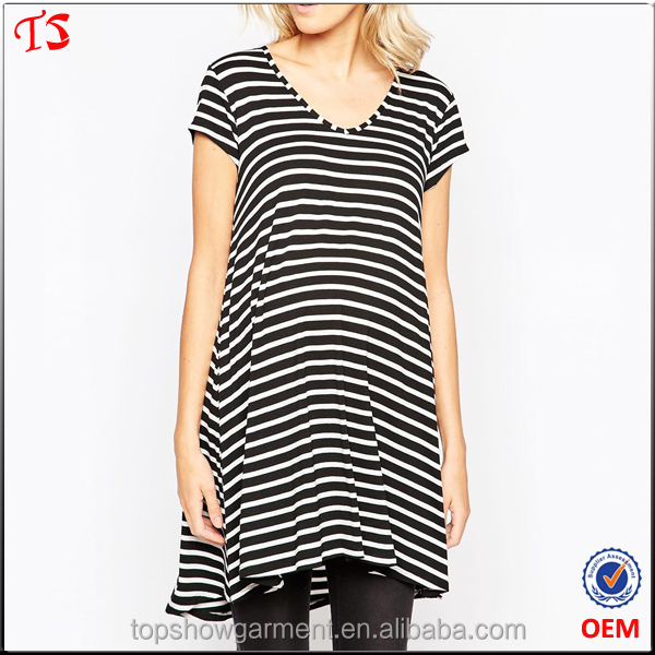 Pregnant clothing manufacturer wholesale stripe tops maternity tunic
