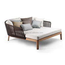 Mixarts outdoor furniture teak wood base rope weave furniture sofa bed