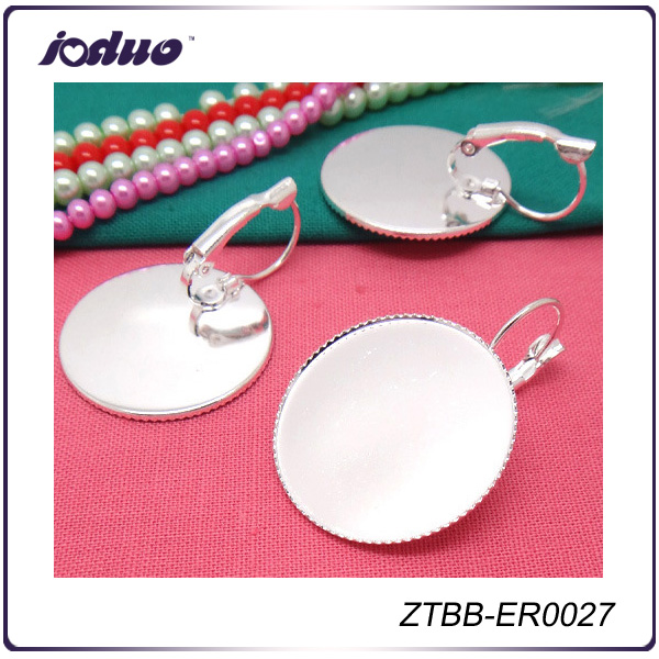2016 Cheapest Silver French Lever Back Earring Base with A Big Bezel,Fit 25mm Round Glass Cabochon