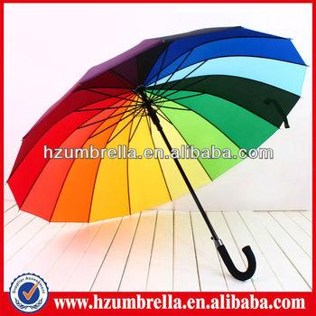 Promotional 16 Colors Rainbow Rain Umbrella